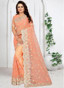Mod Resham Peach Net Traditional Saree
