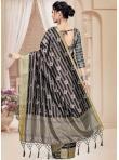 Mod Tussar Silk Digital Print Grey Printed Saree - 1