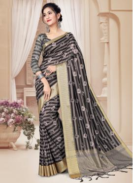 Mod Tussar Silk Digital Print Grey Printed Saree