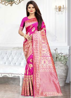 Modern Art Silk Hot Pink Weaving Casual Saree