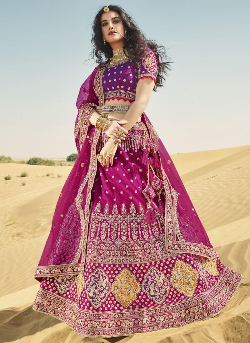 Modern Resham Art Silk Magenta and Purple A Line Lehenga Choli