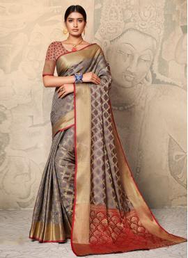 Modern Weaving Multi Colour Silk Contemporary Saree