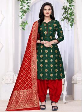 Modernistic Banarasi Silk Green Weaving Punjabi Suit