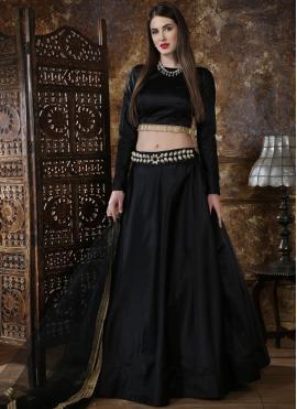 Modernistic Black Sangeet Lehenga Choli