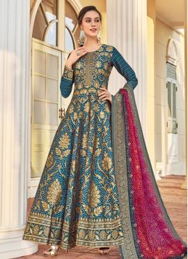 Modernistic Teal Weaving Jacquard Readymade Anarkali Salwar Suit
