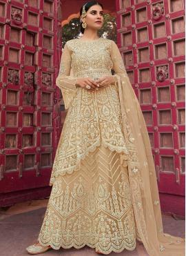 Modest Embroidered Beige Net Designer Pakistani Salwar Suit
