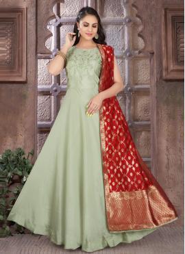 Modest Fancy Art Silk Green Readymade Suit