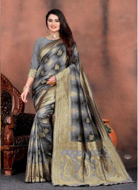 Modest Grey Silk Classic Saree