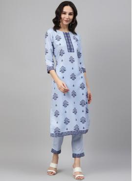 Modest Rayon Blue Print Party Wear Kurti