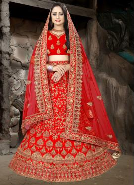 Modest Satin Resham Red Lehenga Choli