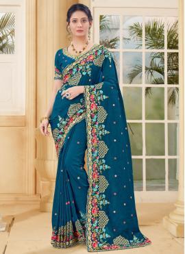 Modest Vichitra Silk Traditional Designer Saree