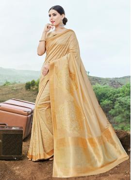 Modest Weaving Banarasi Silk Cream Traditional Saree