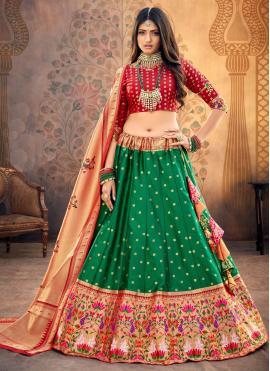 Modish Fancy Silk Green Lehenga Choli