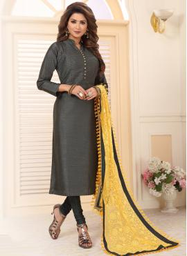 Modish Grey Embroidered Salwar Kameez