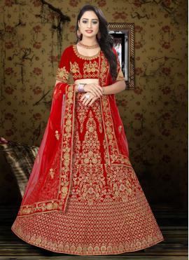 Modish Resham Velvet Red A Line Lehenga Choli