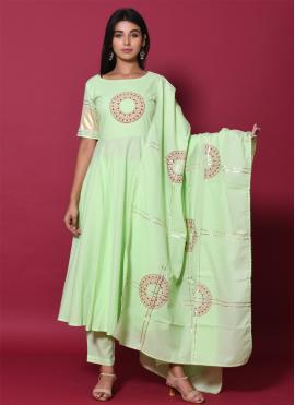 Modish Sea Green Block Print Cotton Salwar Suit