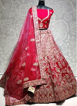 Modish Velvet Pink Embroidered Designer Lehenga Choli