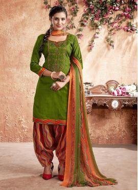 Monumental Cotton Embroidered Designer Patiala Suit