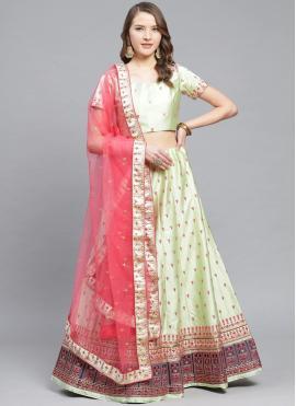 Monumental Green Embroidered Satin Designer Lehenga Choli