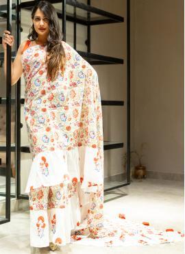Monumental Off White Printed Saree