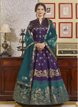 Monumental Purple Embroidered Jacquard Readymade Anarkali Suit