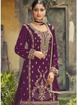 Monumental Purple Resham Designer Palazzo Salwar Kameez - 1