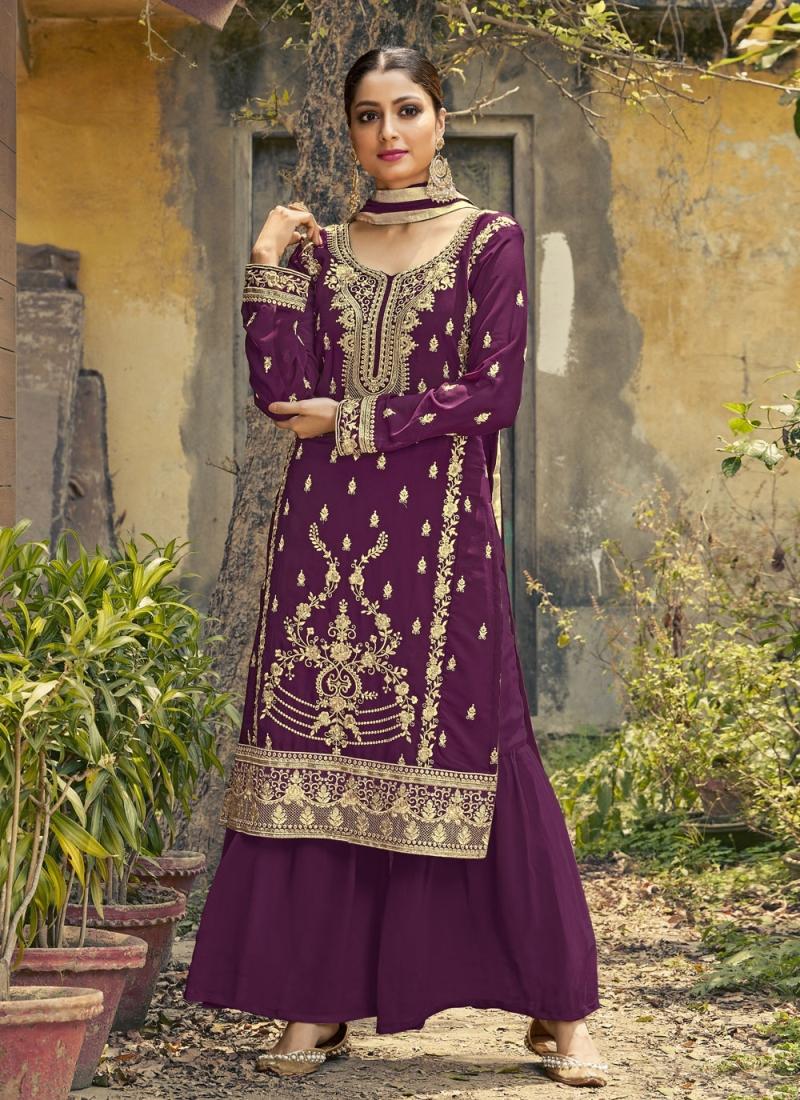 Monumental Purple Resham Designer Palazzo Salwar Kameez