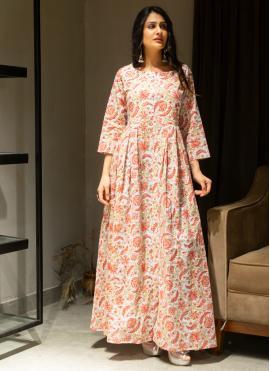 Multi Colour Cotton Printed Gown