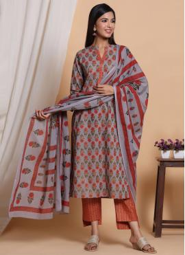 Multi Colour Cotton Readymade Salwar Suit