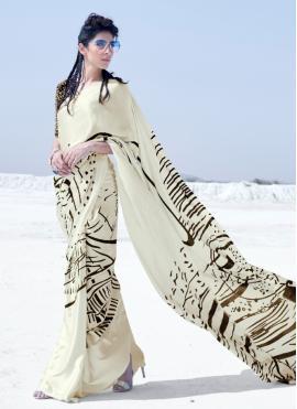 Multi Colour Crepe Silk Printed Classic Saree