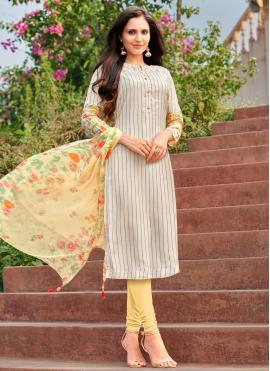 Multi Colour Embroidered Cotton Churidar Suit