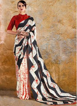 Multi Colour Faux Crepe Print Printed Saree