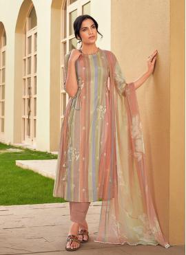 Multi Colour Festival Cotton Designer Suit