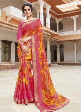 Multi Colour Georgette Party Trendy Saree