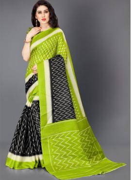 Multi Colour Khadi Silk Printed Trendy Saree