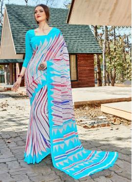 Multi Colour Party Faux Georgette Trendy Saree
