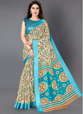 Multi Colour Printed Cotton Classic Saree
