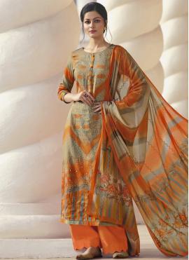 Multi Colour Printed Satin Designer Palazzo Salwar Kameez