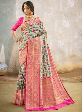 Multi Colour Weaving Banarasi Silk Designer Traditional Saree