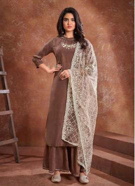 Muslin Embroidered Brown Readymade Suit