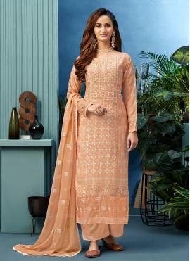 Muslin Peach Embroidered Designer Palazzo Salwar Suit