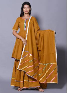 Mustard Block Print Reception Salwar Suit