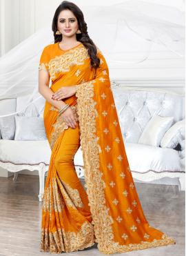 Mustard Embroidered Party Traditional Saree