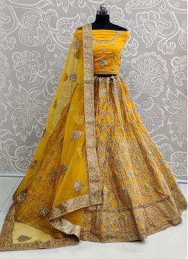Mustard Embroidered Wedding Bollywood Lehenga Choli