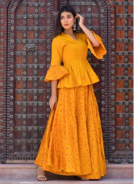 Mustard Jamawar Silk Block Print Designer Kurti