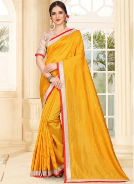 Mustard Patch Border Art Silk Traditional Saree