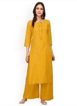 Mustard Plain Rayon Party Wear Kurti