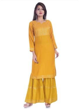 Mustard Print Rayon Party Wear Kurti