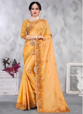 Mustard Satin Designer Saree