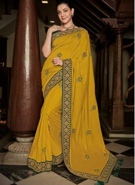 Mustard Silk Party Traditional Saree